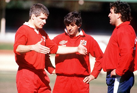 Finlay Calder, Ian McGeechan , and Mike Teague (Lions), British Lions Tour of Australia, 1989. Credit: Colorsport.