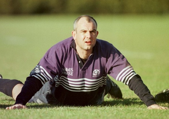 Scotland's Andy Reed in training with the Scottish rugby squad at Edinburgh`s Murrayfield stadium today Tuesday February 16,1999 ahead of Saturday`s Calcutta Cup game against Engalnd at Twickenham. Photo by Dave Cheskin/PA